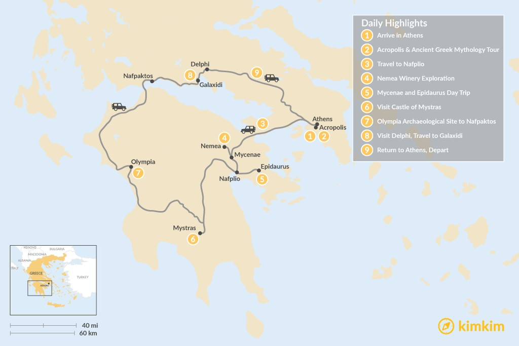 Map of Mainland Greece Road Trip - 9 Days