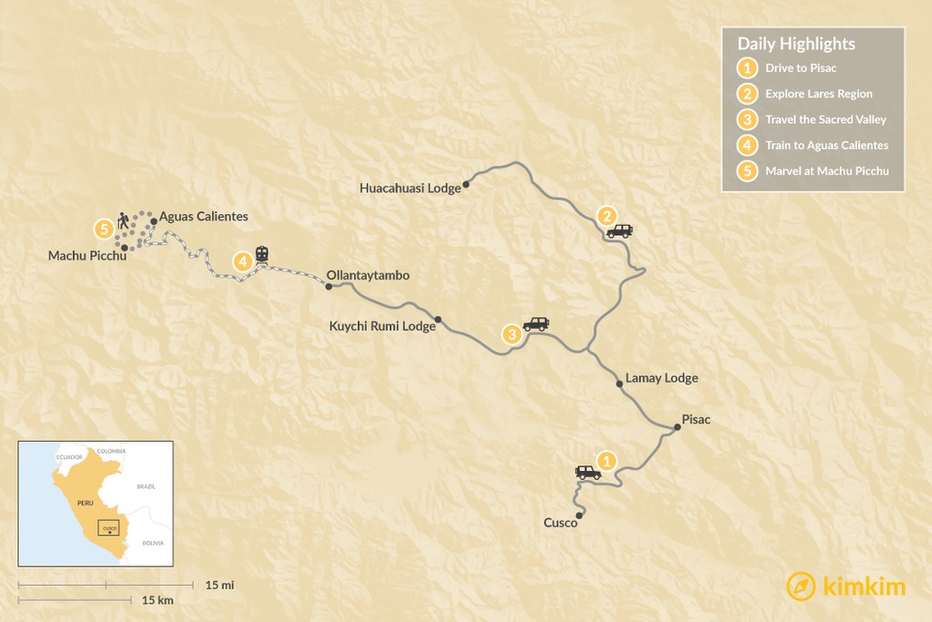 Map of Lares Lodge-to-Lodge Trek to Machu Picchu - 5 Days
