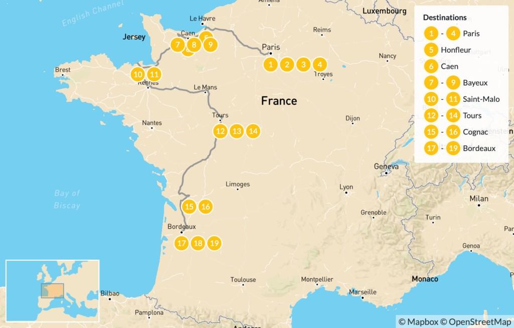Map of Road Trip Through Western France: Paris, Normandy, Brittany, Cognac, Bordeaux, & More - 20 Days