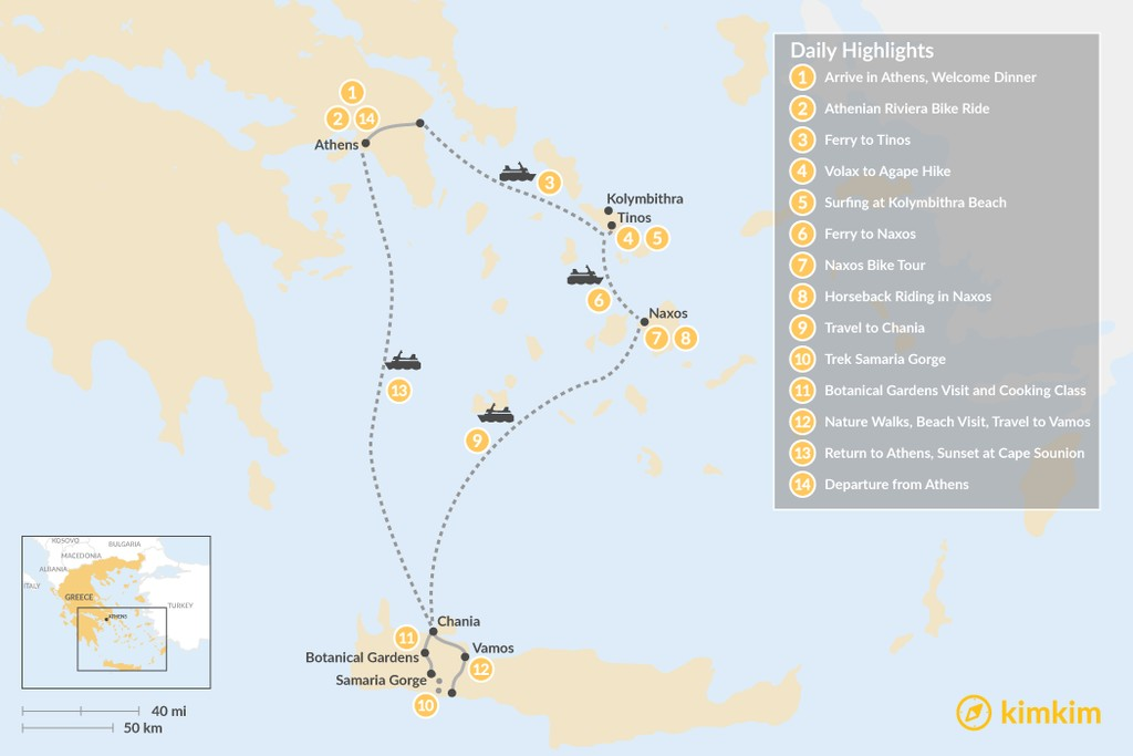 Map of Active Athens, Tinos, Naxos, and Crete - 14 Days