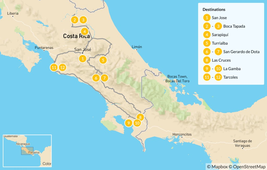 Map of Birding Self-Drive Adventure in Costa Rica - 13 Days