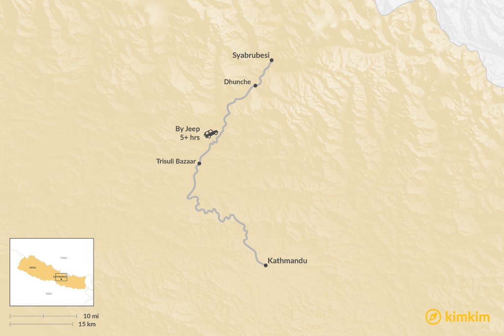 Map of How to Get from Kathmandu to Syabrubesi