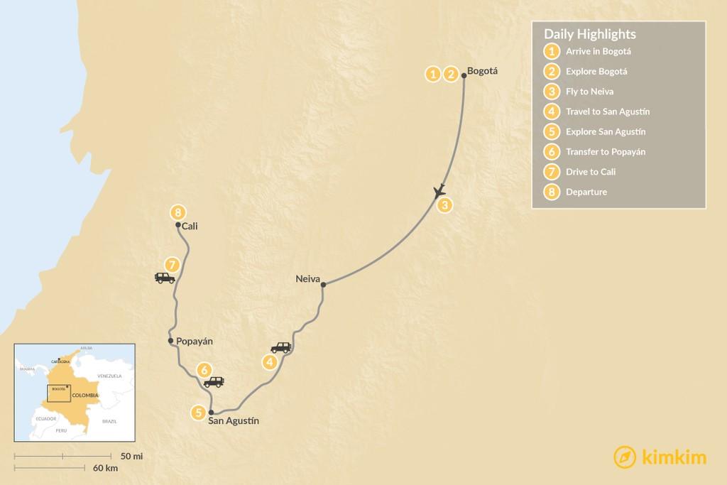 Map of West & Central Colombia: Bogotá, San Agustín, Popayán, & Cali - 8 Days