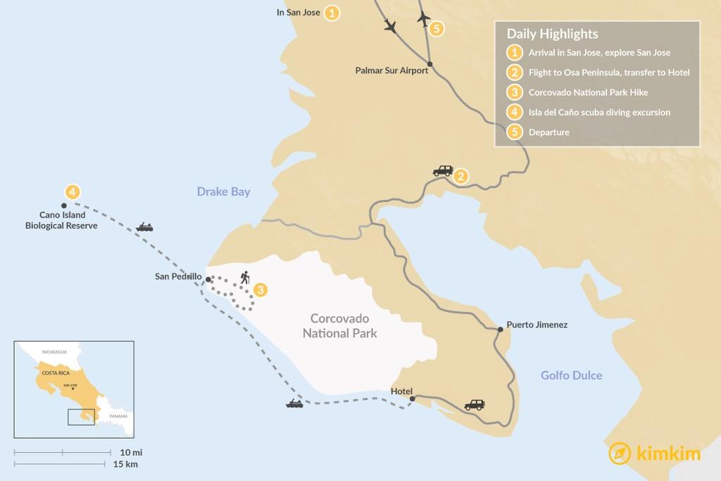 Map of Osa Peninsula Luxury Jungle Adventure - 5 Days