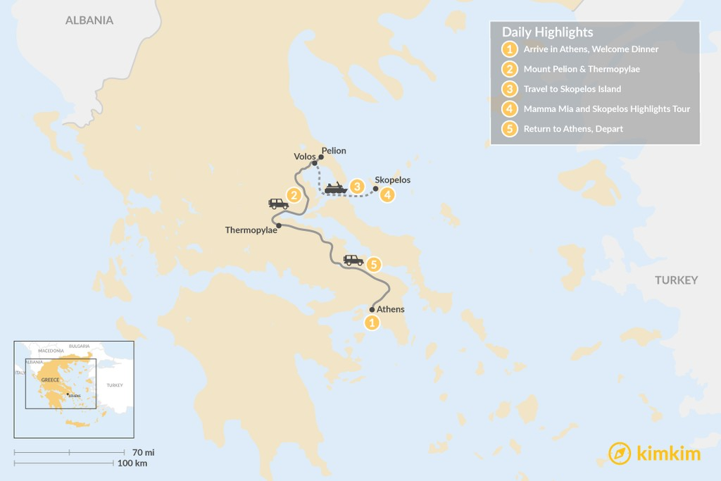 Map of Central Greece & Skopelos Exploration - 5 Days