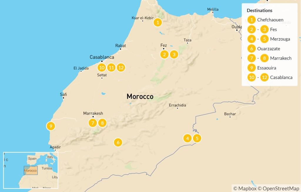 Map of Moroccan Tour: Chefchaouen, Fes, Ouarzazate, Marrakech, & More - 12 Days