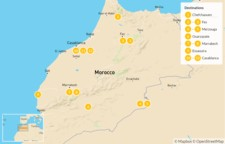 Map thumbnail of Moroccan Tour: Chefchaouen, Fes, Ouarzazate, Marrakech, & More - 12 Days