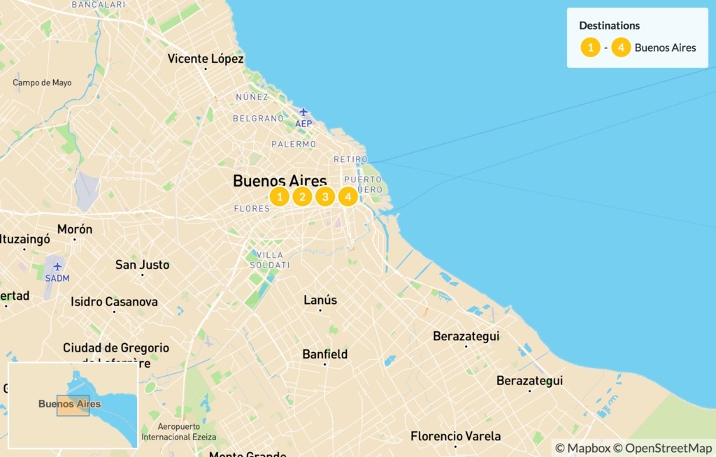 Map of Experience Buenos Aires - 5 Days