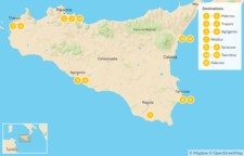 Map thumbnail of Sicily Highlights Self-Drive Tour - 13 Days