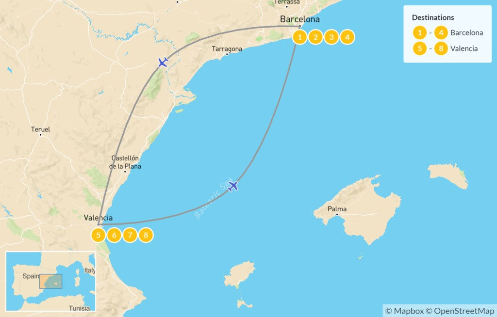 Map of Best of Barcelona & Valencia - 9 days