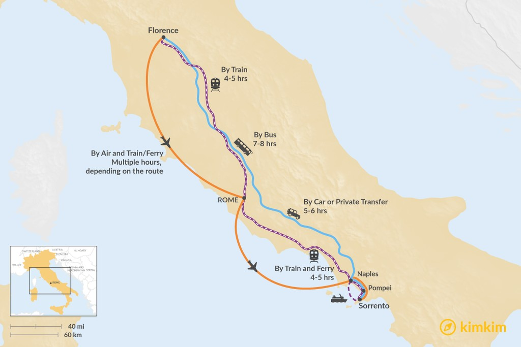 Map of How to Get from Florence to Sorrento