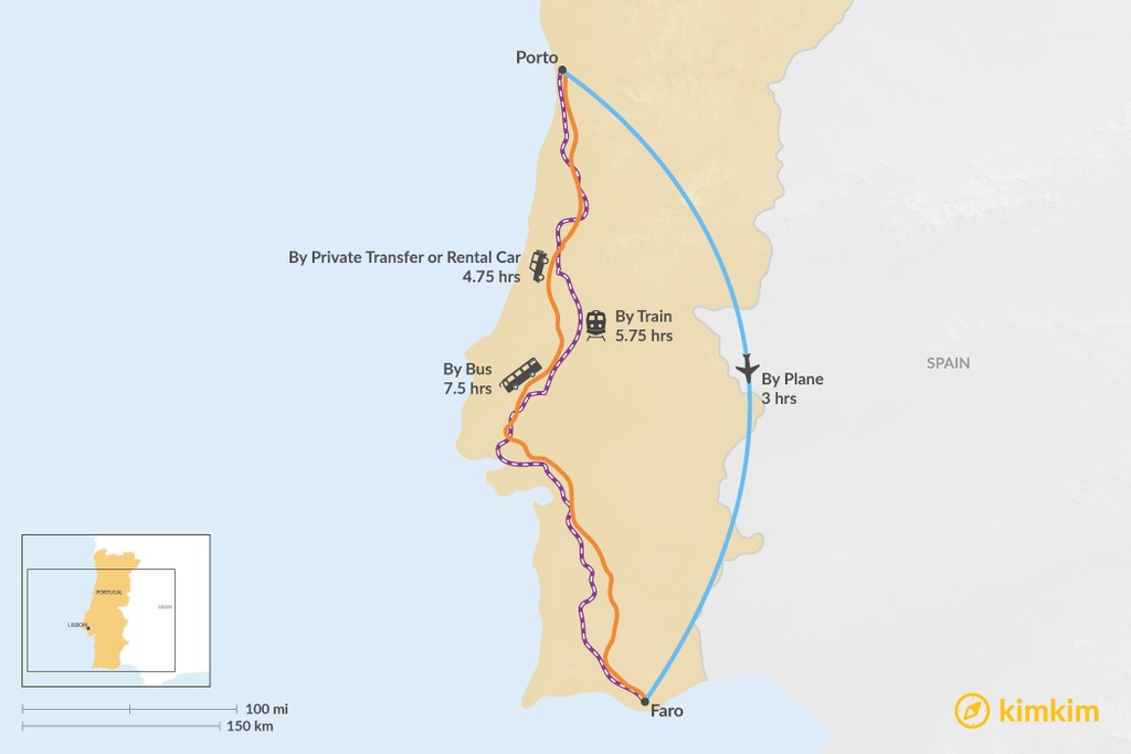 Map of How to Get from Porto to Faro
