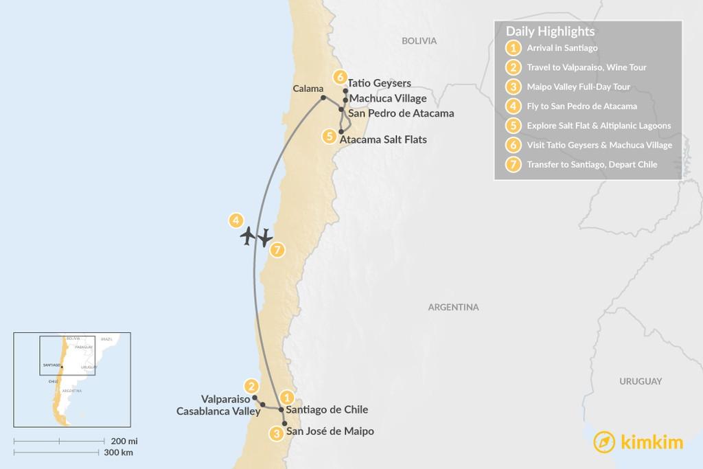 Map of Exploring Santiago & the Atacama Desert - 7 Days