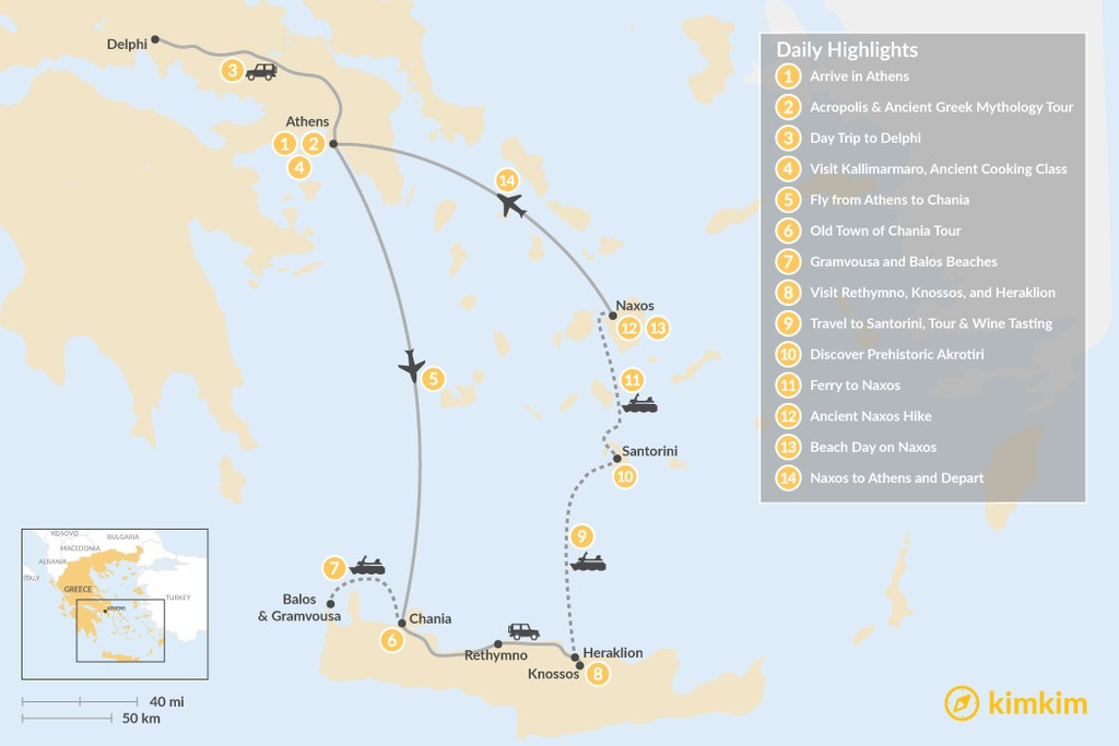 Map of Historical and Island Adventures: Athens, Crete, and the Cyclades - 14 Days