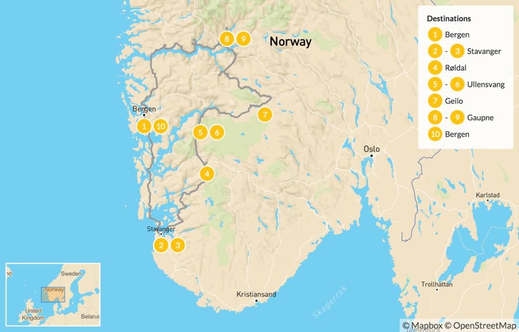 Map of Lysefjord, Hardangerfjord & Sognefjord - 11 Days