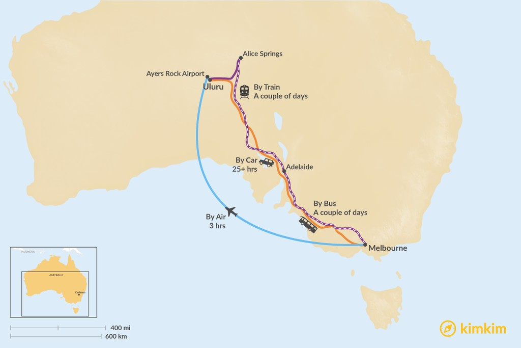 Map of How to Get from Melbourne to Uluru