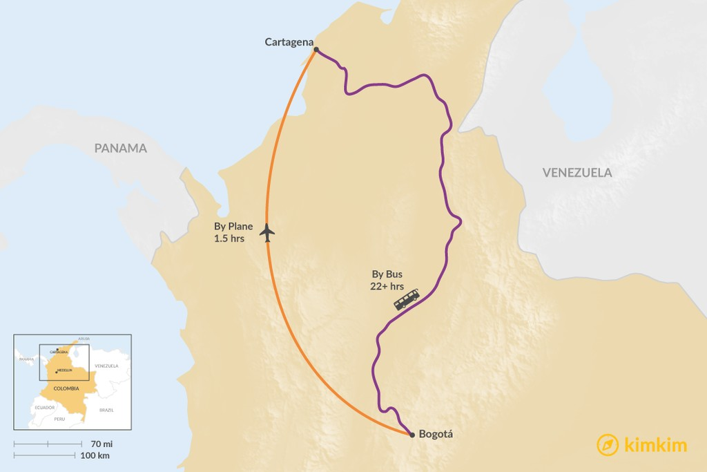 Map of How to Get from Bogotá to Cartagena