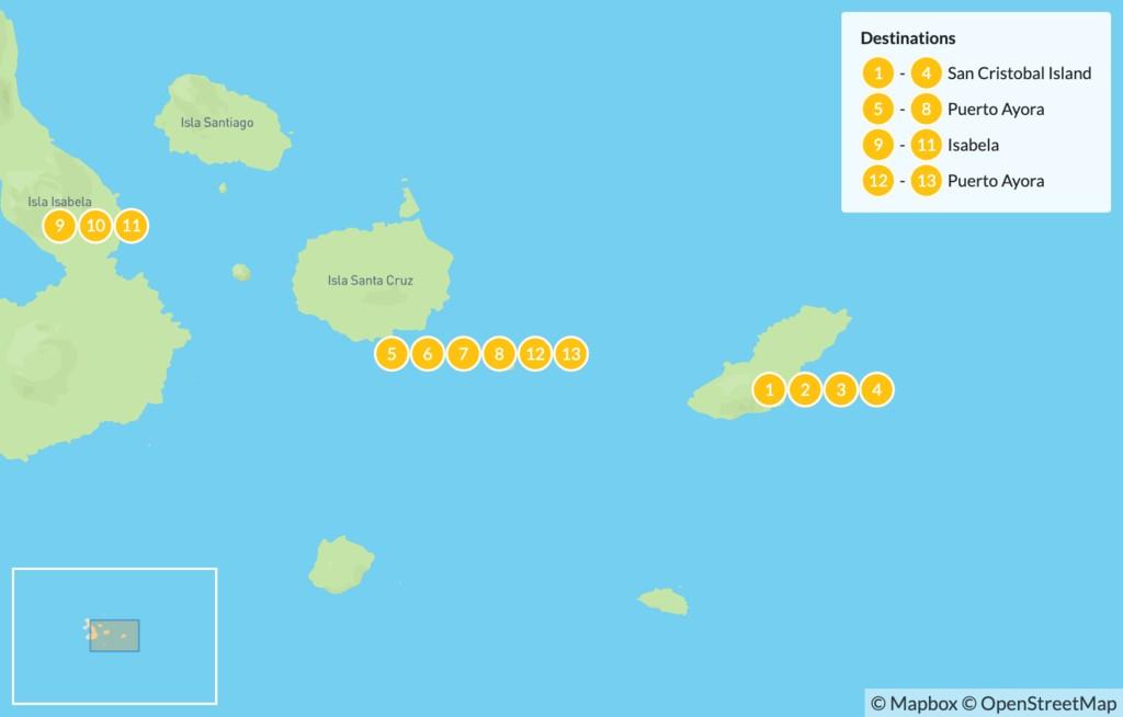 Map of Galapagos Island Hopping: Water, Wildlife, & Wilderness - 14 Days