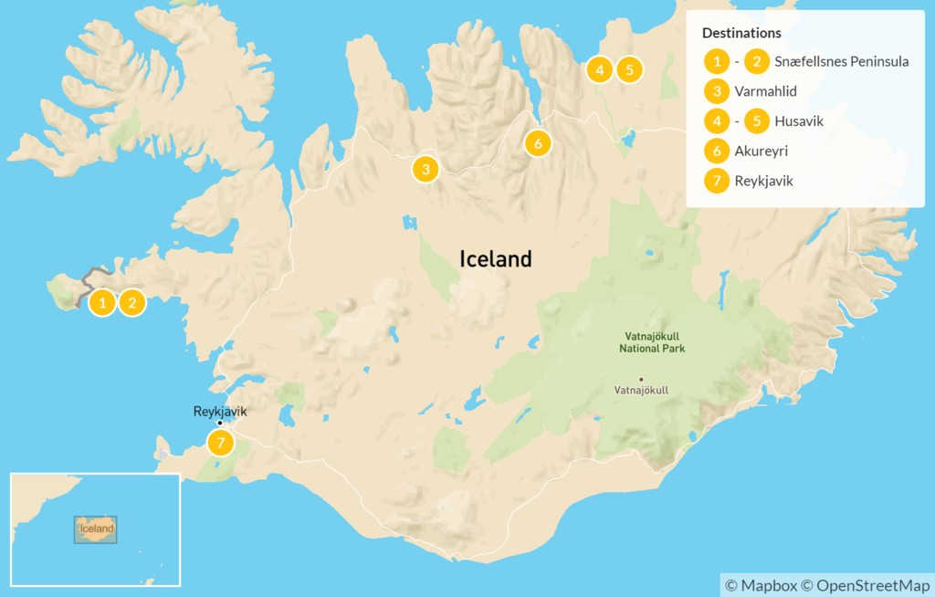 Map of West & North Iceland Escape: Snaefellsnes Peninsula, Arctic Coast, Lake Mývatn, & More - 8 Days
