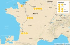 Map thumbnail of Road Trip through Western France: Paris, Normandy, Loire Valley, & Bordeaux - 12 Days