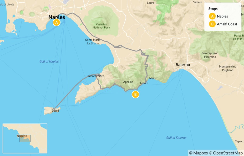 Map of Naples & the Amalfi Coast - 8 Days