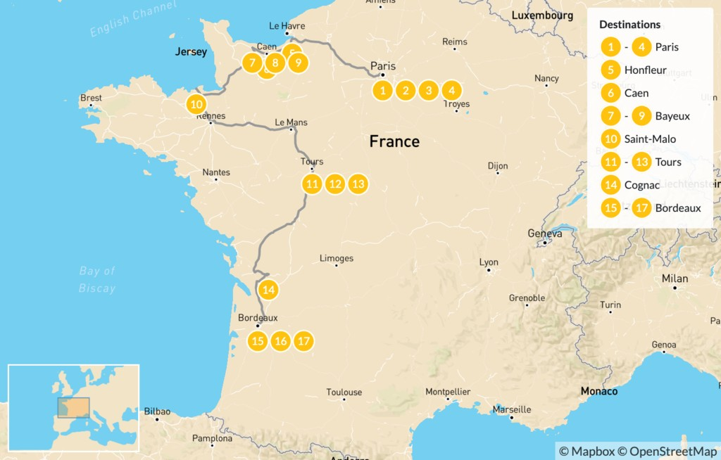 Map of Road Trip Through Western France: Paris, Normandy, Brittany, Loire Valley, Bordeaux, & More - 18 Days