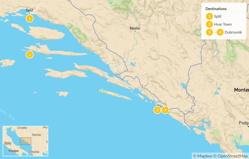 Map of Luxury Croatian Highlights: Split, Hvar, & Dubrovnik - 5 Days