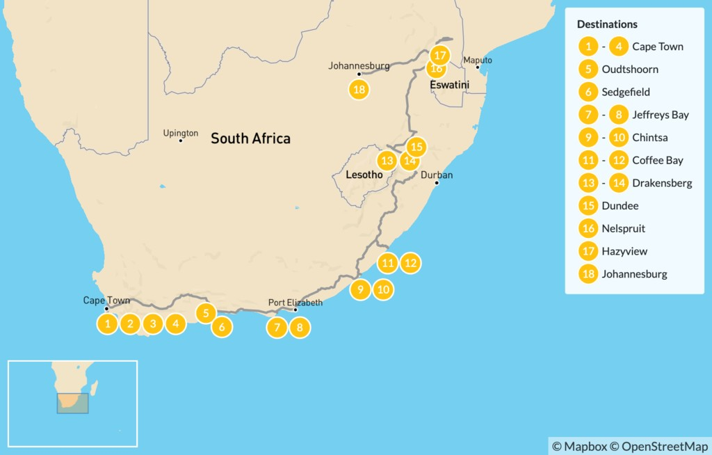 Map of  Country of Contrasts Road Trip: Cape Town, Garden Route, Wild Coast, Kruger National Park, & More - 18 Days