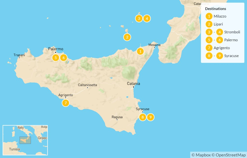 Map of Sicily Highlights Self-Drive Tour with Aeolian Islands - 10 Days