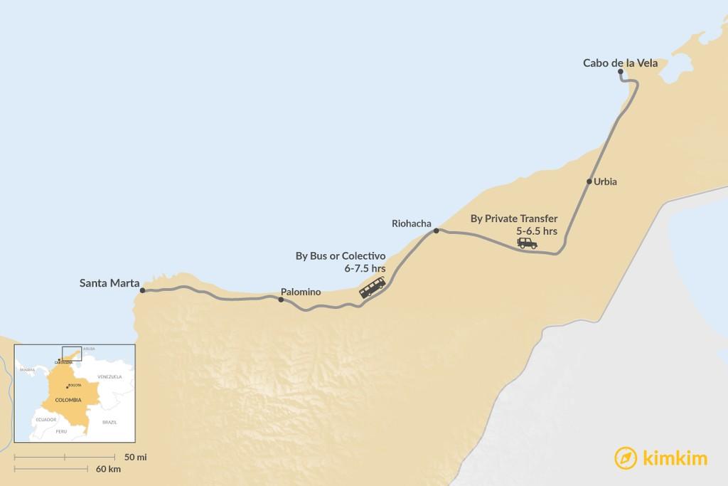 Map of How to Get from Santa Marta to La Guajira Desert