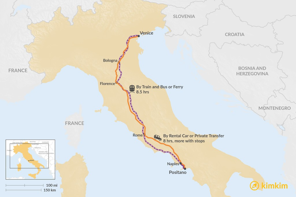 Map of How to Get from Venice to Positano