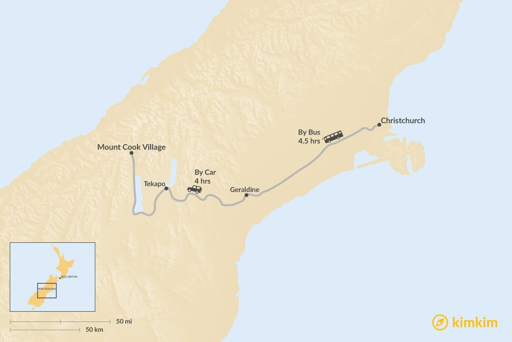 Map of How to Get from Christchurch to Mount Cook Village