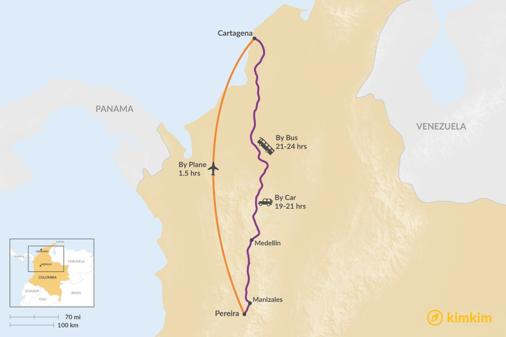 Map of How to Get from Cartagena to Pereira