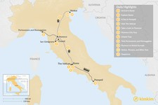 Map thumbnail of Romantic Italy: Rome, Florence, and Venice by Train - 10 Days