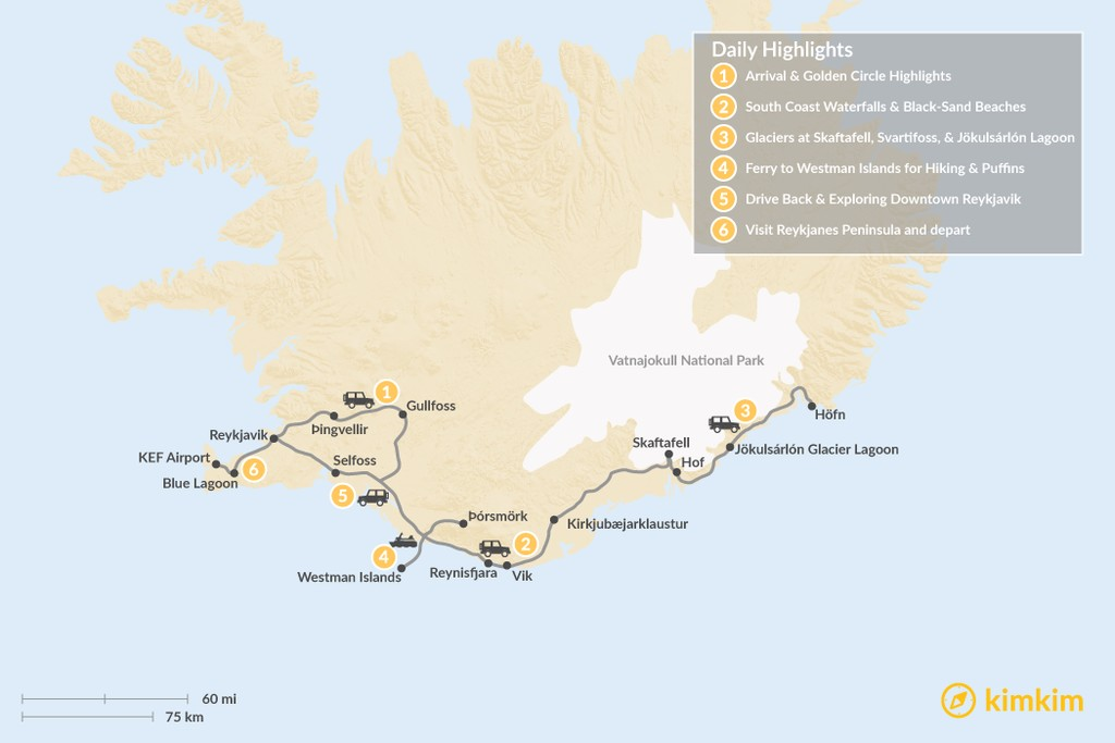 Map of Iceland: Golden Circle, South Coast, & Westman Islands - 6 Days