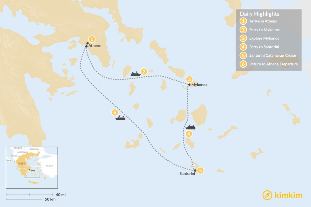 Map of Athens, Santorini, & Mykonos Exploration - 6 Days