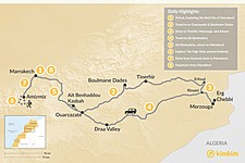 Map thumbnail of Moroccan Desert & Hiking in the Atlas Mountains - 8 Days