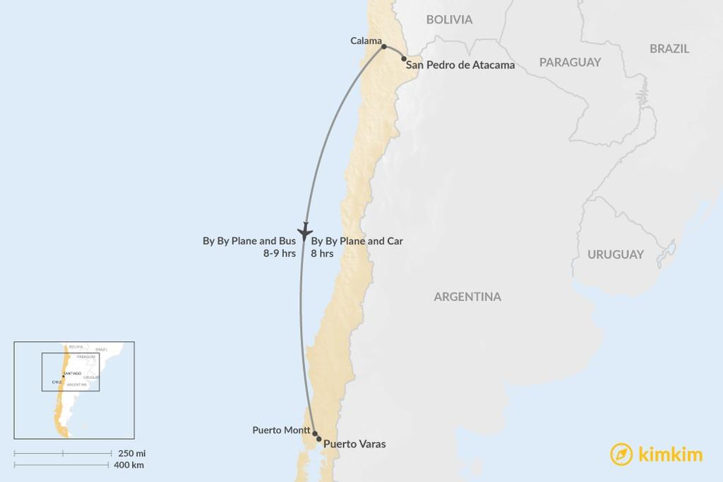 Map of How to Get from San Pedro de Atacama to Puerto Varas