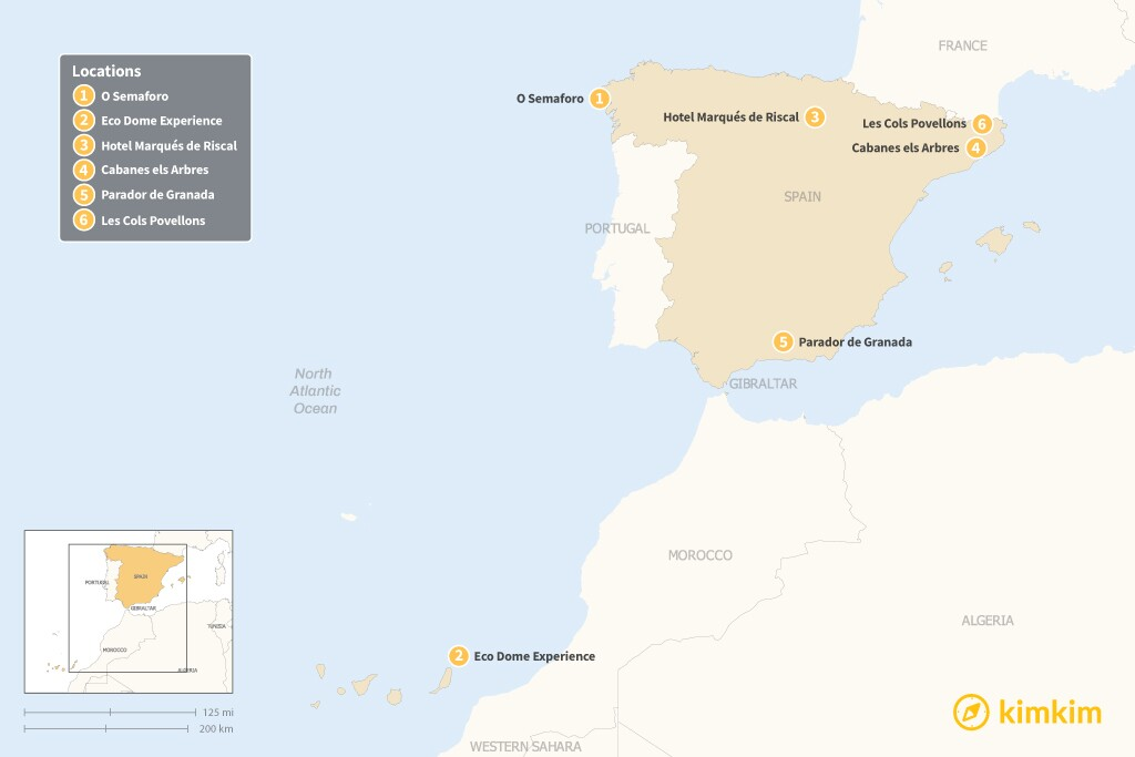 Map of Beyond Hotels: 6 Unique Places to Stay in Spain