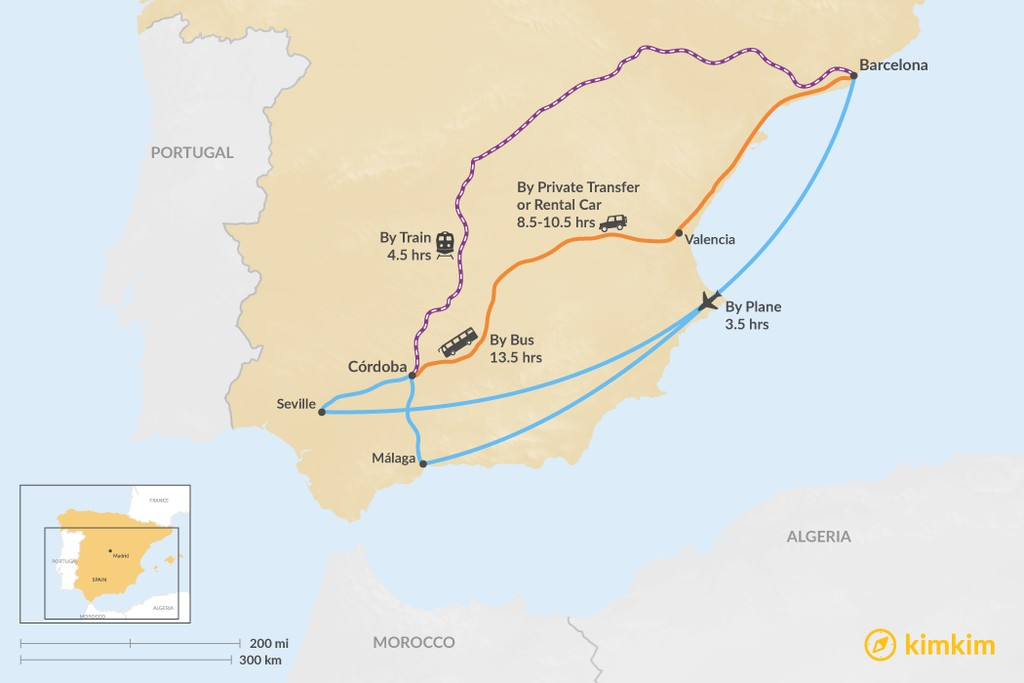 Map of How to Get from Barcelona to Córdoba