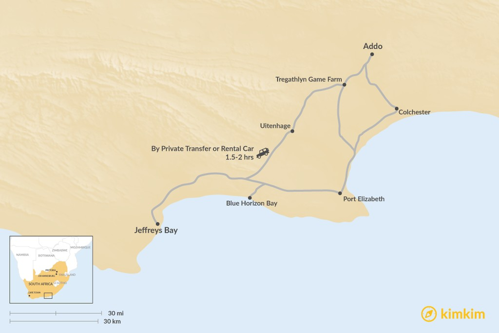 Map of How to Get from Addo to Jeffreys Bay