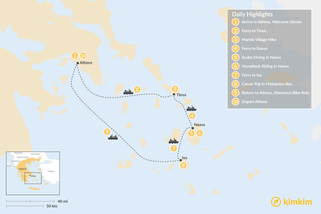 Map of Active Cyclades: Tinos, Naxos & Ios - 10 Days