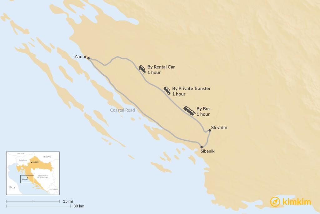 Map of How to Get from Zadar to Skradin