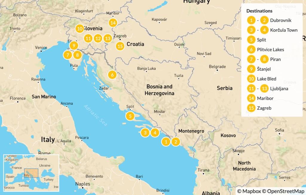 Map of Self-Drive Croatia & Slovenia: Dubrovnik to Zagreb - 16 Days