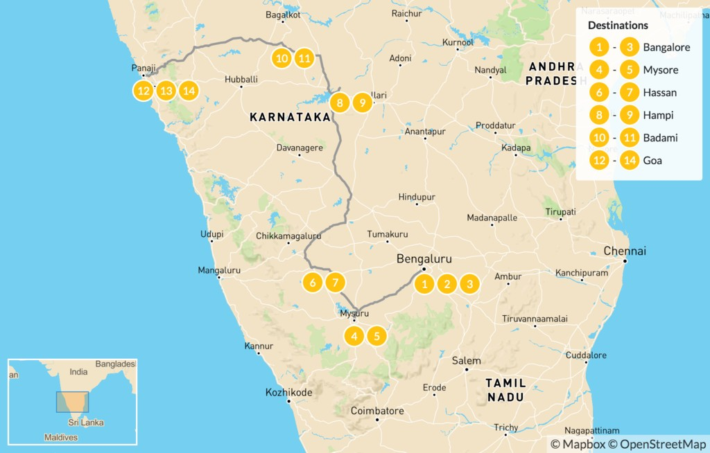 Map of Best of Karnataka & Goa - 15 Days