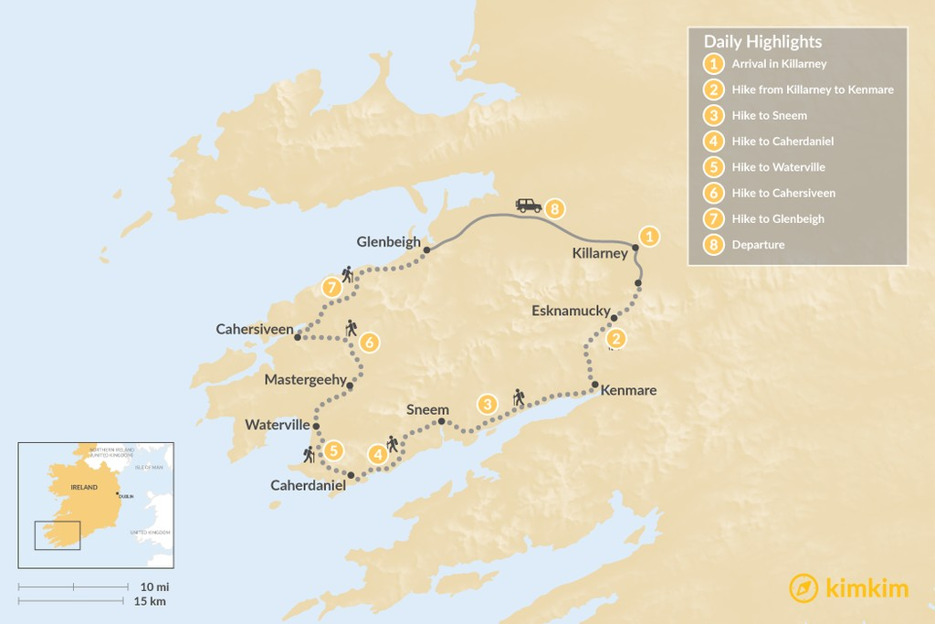 Map of Ring of Kerry Self-Guided Hike - 8 Days