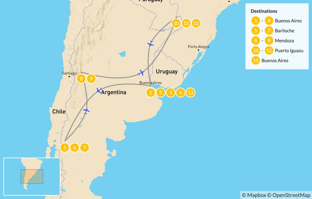 Map of Classic Argentina: Patagonia, Mendoza, & Iguazú - 14 Days