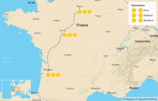 Map thumbnail of Luxury Food and Wine Tour: Paris, Loire Valley, & Bordeaux - 10 Days