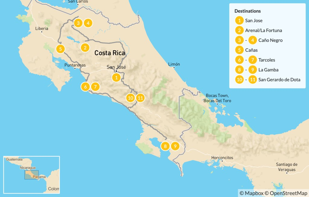 Map of Guided Birding Safari in Costa Rica - 12 Days