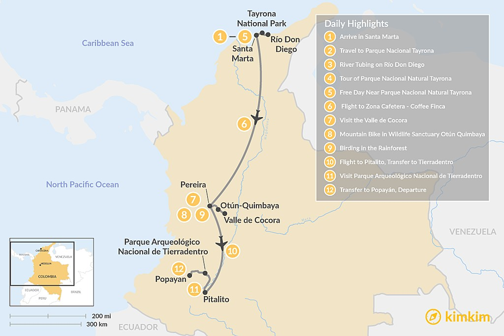 Map of Ancient and Modern Cultures in Colombia - 12 Days